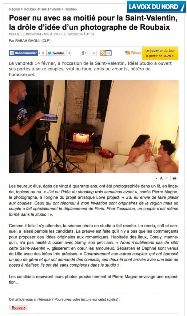Article La Voix du Nord sur le Love Project à l'occasion de la Saint Valentin