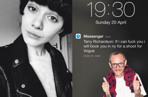 Capture d'écran du texto qu'aurais envoyé le pornographe Terry Richardson