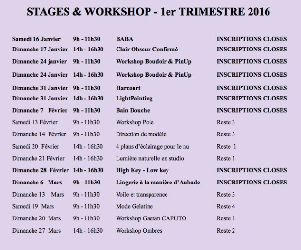 stages et workshops